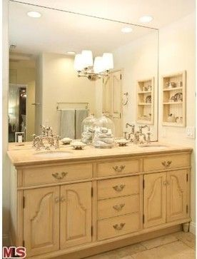 Barbara Stock Interior Design Custom vanity topped with Crema Marfil marble