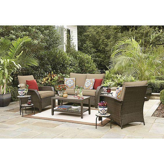 Sutton Rowe Sutton Rowe Williamsport 4 Piece Wicker Patio Deep Seating Set Sunroom Furniture Deep Seating Outdoor Furniture Sets