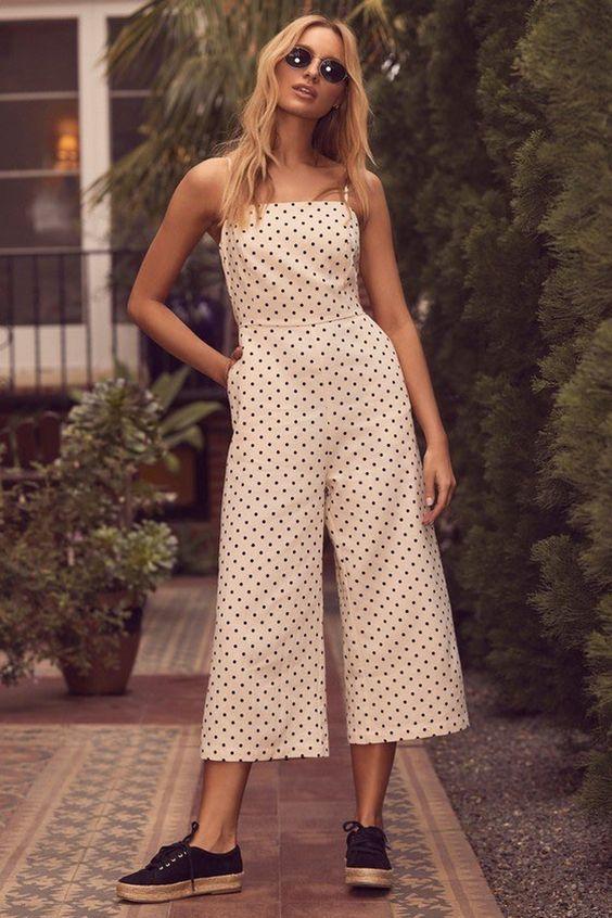 Lulu's Polka Dot Culotte Jumpsuit