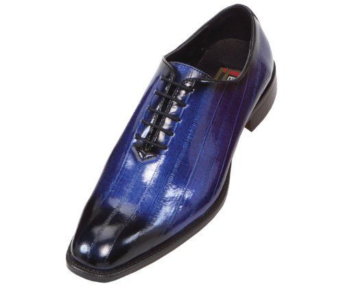 Bolano Mens Exotic Faux Eel Print Oxford Dress Shoe in Royal Blue ...
