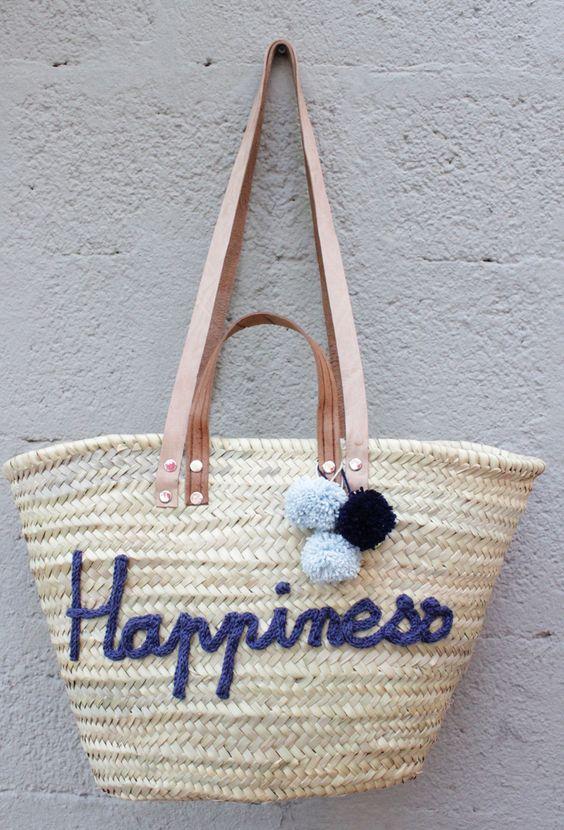 L'atelier Des Petites Bauloises: Panier de plage Happyness