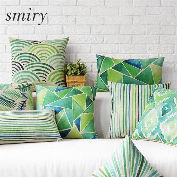 Moda Euro entorno Verde Cojín de Lino Del Algodón Throw Almohada Cubierta Decorativa Planta de hojas geometría housse de coussin
