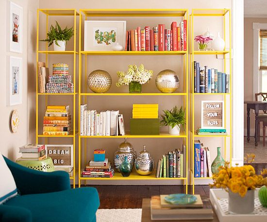 Organize your bookcase by color! It's a quick and gorgeous way to stay organized: http://www.bhg.com/decorating/budget-decorating/cheap/cheap-decorating-ideas/?socsrc=bhgpin011614colorfullibrary&page=16