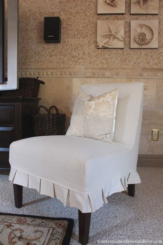 Slip-Covering an Armless Accent Chair- Great tutorial!