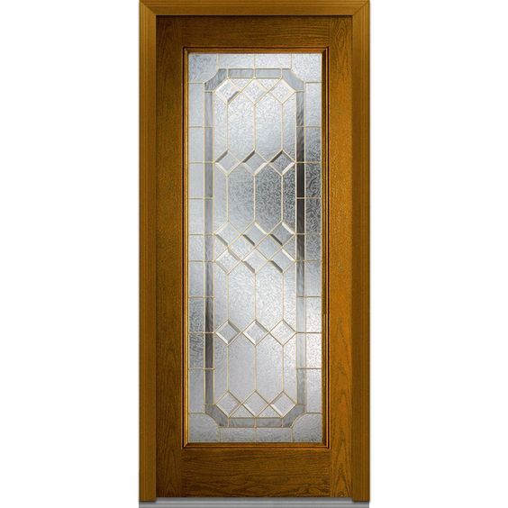 Milliken Millwork 32 in. x 80 in. Majestic Elegance Decorative Glass Full Lite Finished Oak Fiberglass Prehung Front Door, Dark Walnut
