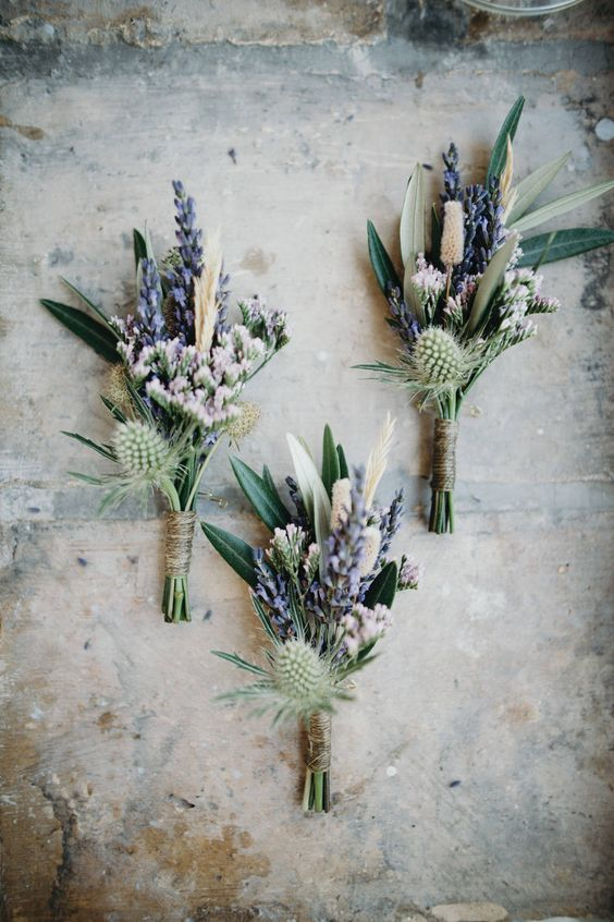 Lavender & Thistle Buttonholes | Outdoor Ceremony | Destination Wedding in Provence France | Bridesmaids in Coast Baby Blue Dresses | Lavender pastel flowers | Images by Sebastien Boudot Photographé | http://www.rockmywedding.co.uk/emily-will/