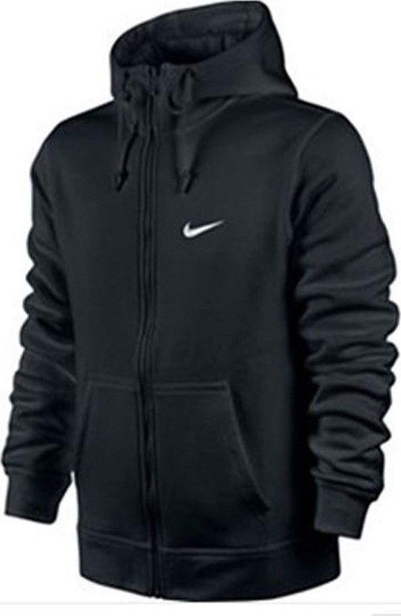 New Nike Mens Club Swoosh Solid Black Full Zip Up Hoodie Jacket Size Small Nike Hoodie Nike Clothes Mens Mens Zip Hoodie Hoodies