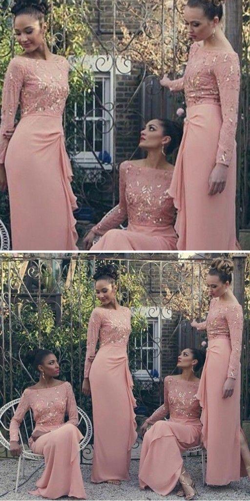 Brautjungfernkleider Altrosa Mit Spitze Chiffon Lange Armel Kleider Fur Brautjungfern Modellnummer Yy177 Fashion Style Formal