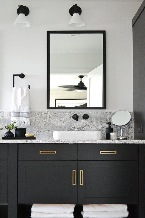 Black Bathroom Vanity With Marble And Brass Jaclyn Peters Design