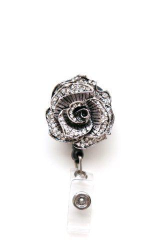 Sparkly Rose Rhinestone Retractable Badge Reel / ID badge Holder