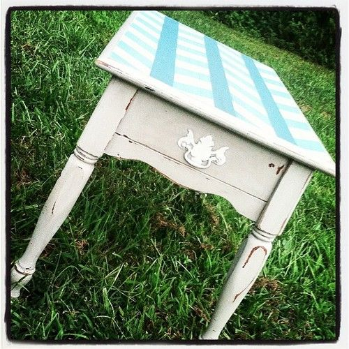 """Herringbone detail painted atop this night stand that has been made """"Beautifully aNew."""" This would look so cute in a child's bedroom!"""
