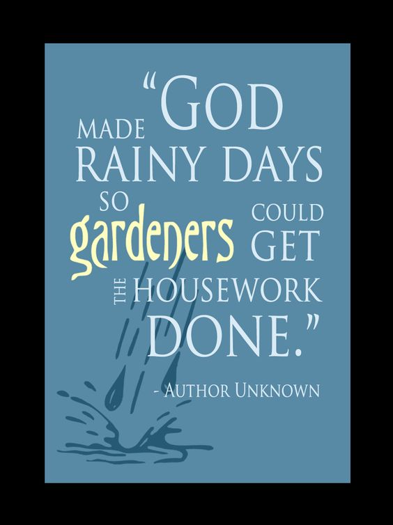 """God made rainy days so gardeners could get the housework done"""