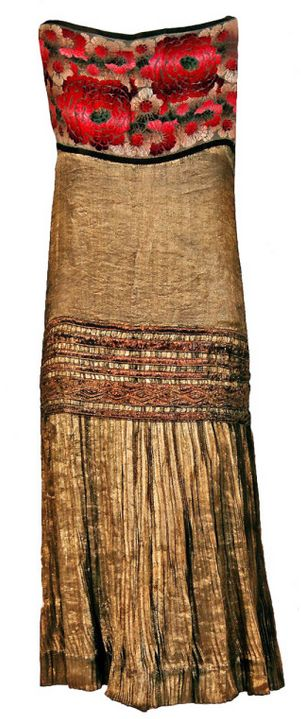 1920's French Metallic-Gold Pleated Lame Floral Drop-Waist Dress Front: