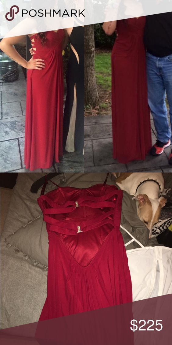 Burgundy strapless gown Worn once for prom (in picture) - gorgeous back straps (don't mind my pup in the pic) great condition size 4 but slides to size 6 as well - I bought it for $300 because it was a last minute decision, really nice quality dress Dresses Strapless