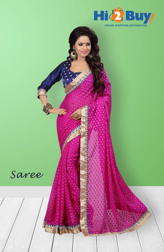 Regalia Ethnic Women's Dark Pink & Blue Embroidered Viscose Saree With Unstitched Printed Blouse #Hi2buy #OnlineShoppingDestination #Sarees #DesignerSarees #Shopping