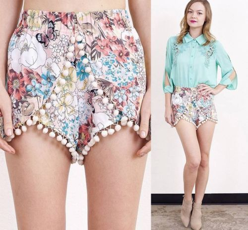 Details about NWT Retro Coral Blue Ivory Floral High Waist Flowy ...