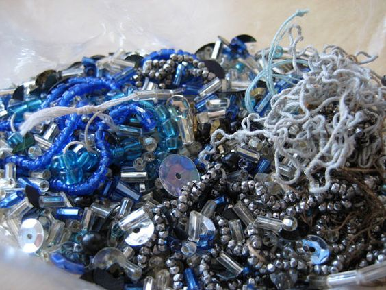 Destash Lot Beads and Sequins. Silver and Blue by VintageRenude, SOLD!