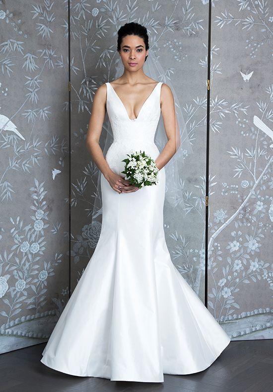 Sleeveless V Neck Taffeta Fit And Flare Wedding Dress Fit Flare