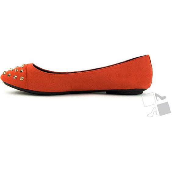Burnt Orange Studded Spike Flats MyHotShoes.com ($16) via Polyvore