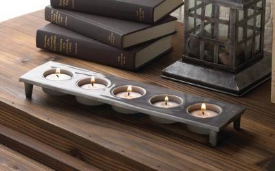 #10017355 Gray Ceramic 5-cup Tealight Candle Holder by sensationaldecorandmore