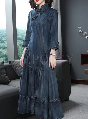 in vendita all'ingrosso prodotto caldo ultimo design Vintage Mandarin Collar Big Hem Denim Dress   Vestiti ...