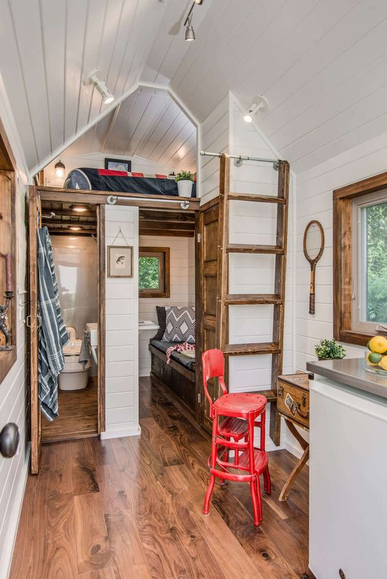 A high end custom tiny house on wheels built by New Frontier Tiny