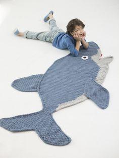Crochet shark blanket.