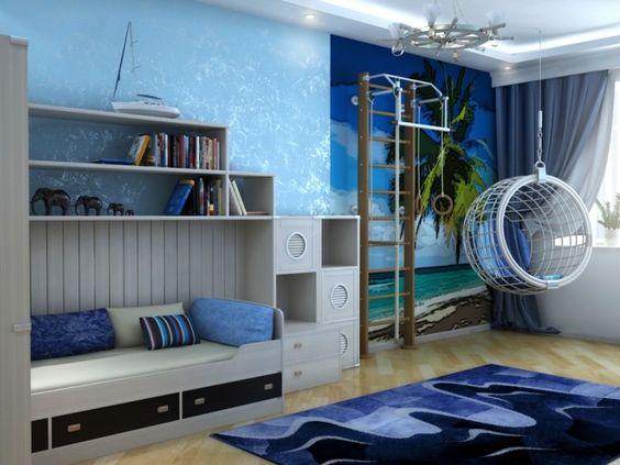 chambre enfant bleu lit avec rangement gris taupe tapis bleu marine parquet contrecoll - Chambre Bleu Taupe