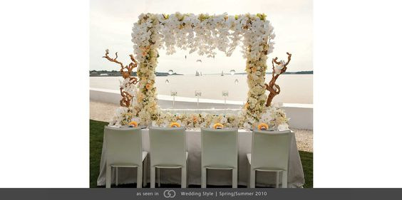 Bell Mer Newport wedding tabletop white orchid arbor seashell photo