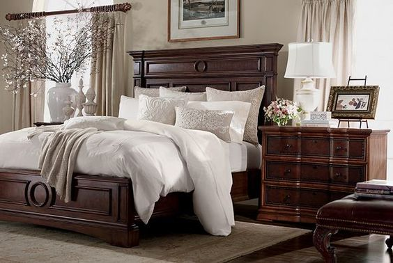 Ethan allen bedrooms and dark wood on pinterest Master bedroom bed linens
