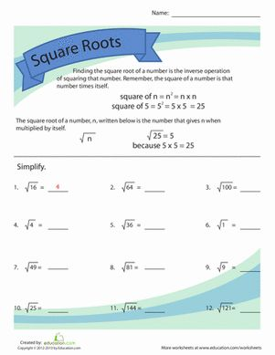math worksheet : simplifying square roots  worksheets and squares : Square Root Math Worksheets