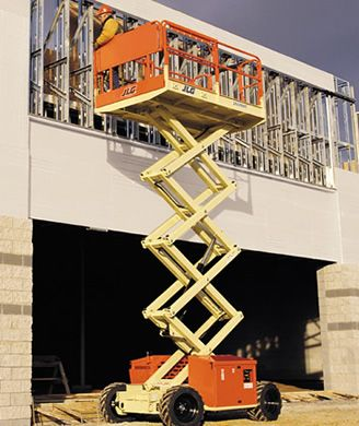 MODEL 260MRT (Rough Terrain) 26' ft Platform Height Scissor Lift Rental 32' ft Working Height Rough terrain scissor lifts that take on heavy duty jobs with 4-wheel drive and can handle up to 35% grades. #ScissorLift #rentals #DiscountLiftRentals http://www.discountmanliftrentals.com/scissor-lift-rental.html