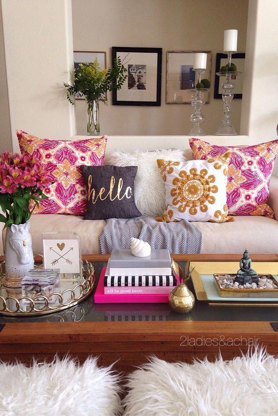 Que Bien Usado Esta El Dorado En Este Living With Images Home Decor Decor Diy Home Decor