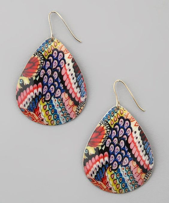 Love this Blue & Pink Peacock Teardrop Earrings by ZAD on #zulily! #zulilyfinds