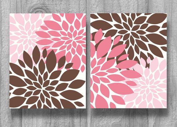 Pink Brown Nursery Art Bedding Set Baby Shower Gift Flower Print Decor 8x10 11x14 5x7