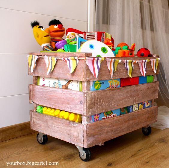Caja de madera 3 listones estilo - Decoracion con ruedas ...