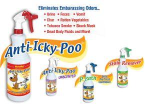 Anti Icky Poo removes urine, feces, vomit odor