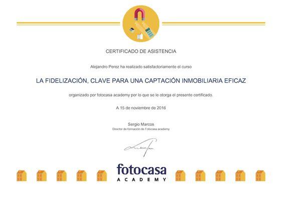 2016 Certificado de Excelencia por Curso Fotocasa Academy de Formacion inmobiliarias en Barcelona con Diploma para Alejandro Pérez Irús AlejandroPI