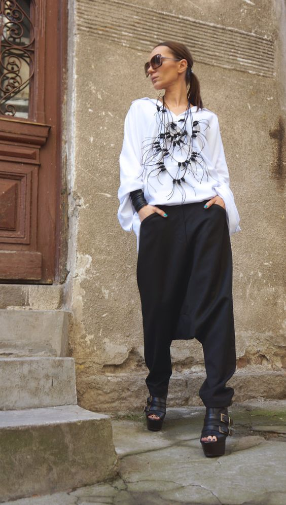NEW Collection Black Drop Crotch Pants / Extravagant by Aakasha