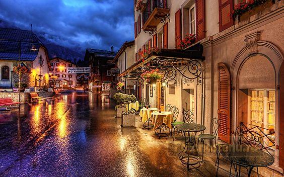 Уличное кафе, Церматт, Швейцария (Код изображения: 14054)