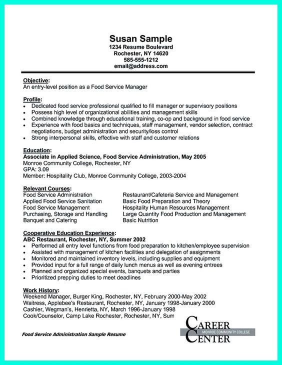 nice Attractive but Simple Catering Manager Resume Tricks, Check - catering manager sample resume