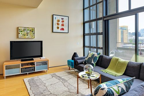 Furnishings and Space Plan-modern living room by relish home and interior design, Oregon. Love the colors, furnishing and pillows too.