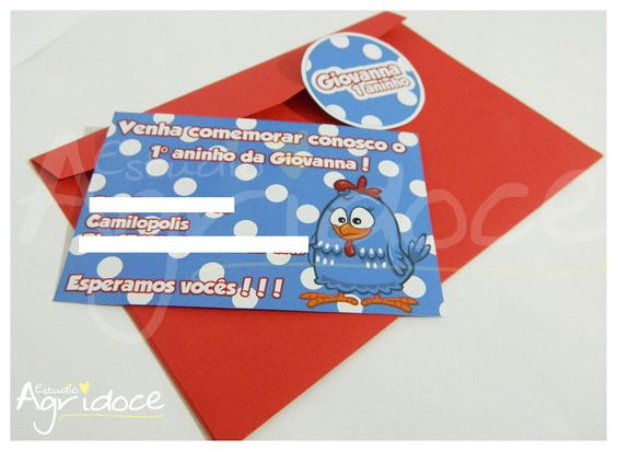 Convite de aniversário Galinha Pintadinha. <br>Feito no papel fotográfico brilhante 180g. <br>Tamanho: 10 x 15 cm.