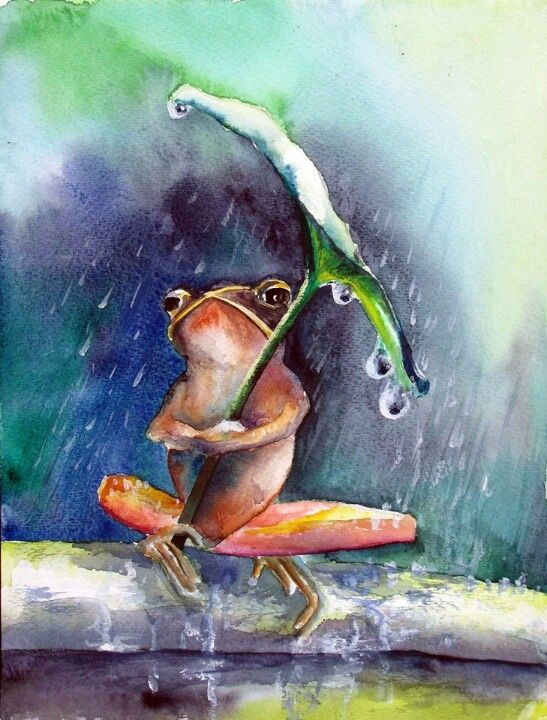 Watercolor frog umbrella: