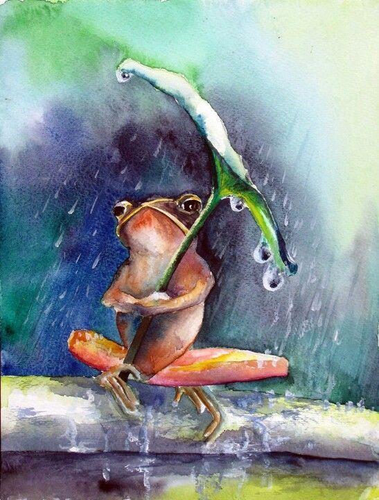 Watercolor frog umbrella: