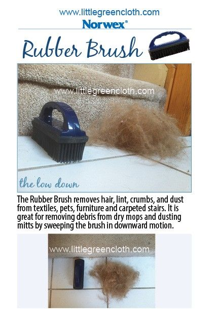 The Norwex Rubber Brush removes hair, lint, crumbs and dust from textiles, pets, furniture and carpeted stairs.  It's great for removing debris from dry mops and dusting mitts by sweeping the brush in a downward motion.