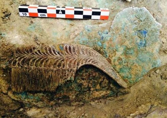 An ivory comb found in the 3,500 years old warrior tomb unearthed in the Peloponnese region of Greece.