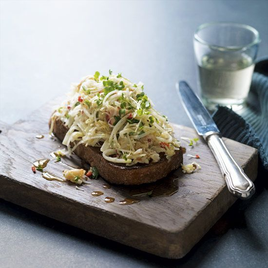 Celeriac Chilli Crab and Lemon Salad on Toasted Sourdough