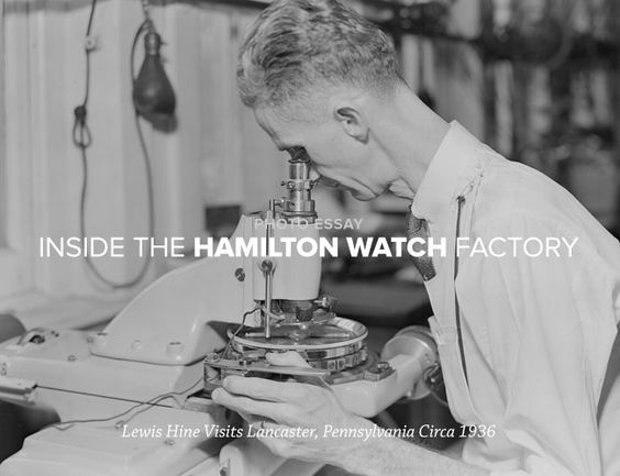 GEAR PATROL: Photo Essay - Inside the Hamilton Watch Factory, 1936---In the late 19th and early 20th century on this side of the pond, America was a watchmaking powerhouse of a different sort, cranking out thousands of sturdy, reliable pocket- and wristwatches used at sea and on the rails and in the trenches.   Check out DCVW's present auction offering of a beautiful Hamilton Steeldon!