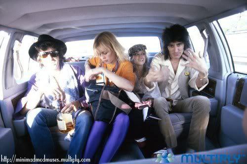 Keith Richards&girlfriend Lil Wenglass, Ron Wood&future wife Jo Wood